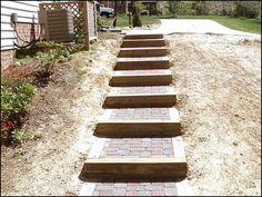 Hill Side DYI Step idea. Brick and Wood Hillside step