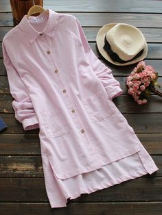 Casual Pure Color Irregular Long Sleeve Lapel Blouses For Women