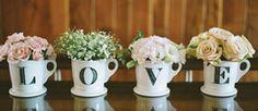 Centros de mesa para boda en tazas / Decoración boda / centros de mesa 2014