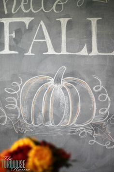 Hello Fall Chalkboard Art   TheTurquoiseHome.com