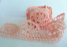 Turkish Handmade Needle Crocheted Soft Pink Lace Edging