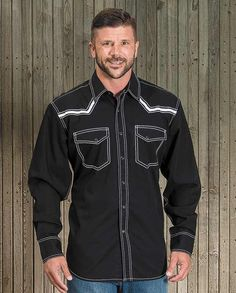 Ariat Men's Black Retro Long Sleeve Western Shirt Made from a cotton poplin, this long sleeve shirt gives an understated feel to classic Western styling. This black shirt has contrast stitching along all the seams and three white stripes of embroidery along the Western yokes that give it a sharp appearance gift idea for cowboys man men drysdales.com western menswear for rugged men