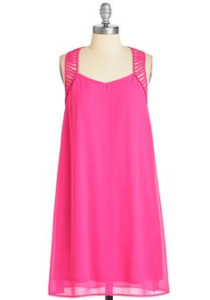 Makes the Cutout Dress - Woven, Pink, Solid, Cutout, Girls Night Out, Valentine's, Shift, Sleeveless, Spring, Mid-length