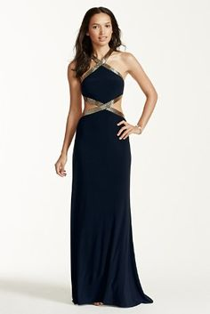 Make a bold statement in this goddess-chic cutout halter dress!  Crisscross halter neckline is embellished with metallic bugle beading that wraps around the side cutouts, defining the waist.  Alluring open back detail adds sultry sophistication.  Long, soft silhouette makes this dress super easy to dance in all night!  Fully lined. Imported polyester. Back Zipper. Professional dry clean only and cover beads.