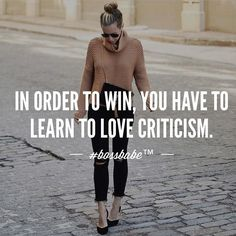 Every time you turn a blind eye to every criticism you receive about your business or yourself you are choosing to stay in the same position. The people who get results understand the gold left in every criticism they get. Instead of taking it personal they use it as an exact area to focus on for improvement. Join the #Bossbabe Netwerk (Click The Link In Our Profile Now! )