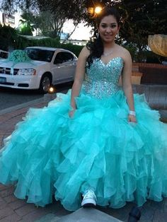 2016 New Cheap Turquoise Sweet 16 Quinceanera Dresses Sweeetheart Crystal Beaded Long Ball Gown Tiered Ruffles Vestido De 15 Anos Prom Gowns Online with $149.75/Piece on Haiyan4419's Store | DHgate.com