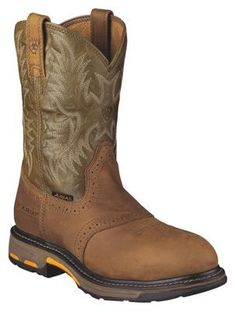 Ariat Workhog Safety Toe Pull-On Work Boots for Men - Aged Bark/Army Green - 11.5 W
