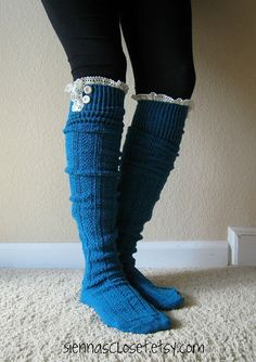 The Milly LaceTEAL cableknit BOOT SOCKS w/ cream by GraceandLaceCo