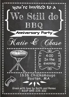 Anniversary party invitations NEW selection winter 2020 We're still making BBQ anniversary invitations Baby Q Invitations, Wedding Anniversary Invitations, Engagement Party Invitations, Shower Invitations, Invitation Ideas, Invitation Templates, Vow Renewal Invitations, Invitation Cards, Invite