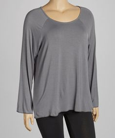 Love this Dark Gray Crewneck Top - Plus on #zulily! #zulilyfinds