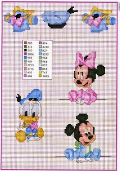 Baby Donald Duck baby Minnie Mouse and Baby Mickey Mouse - free cross stitch patterns crochet knitting amigurumi Disney Cross Stitch Patterns, Cross Stitch For Kids, Cross Stitch Baby, Cross Stitch Charts, Baby Mickey Mouse, Disney Stitch, Cross Stitching, Cross Stitch Embroidery, Embroidery Patterns