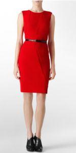 Calvin Klein Belted Asymmetric Shift Dress