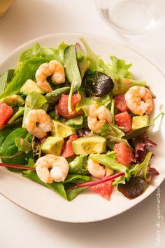 Salade pamplemousse avocar crevettes | Cahier de gourmandises