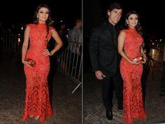 A cantora Paula Fernandes foi à festa com o namorado, o dentista Henrique (Milene Cardoso e Francisco Cepeda/AgNews - Montagem/R7)