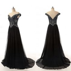 New arrival sweetheart black sequins and beading evening dress, cheap off shoulder formal prom dresses
