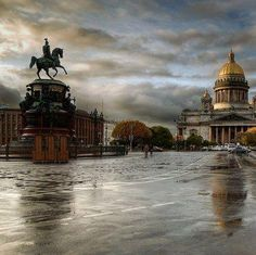 St Petersburg Russia ~ St Isaak Cathedral and the monument to Nikolay I, great great grandfather of Nikolay II ~