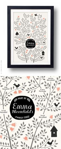Mon carnet: illustrated family tree ~ Super idea for the nursery wall
