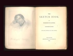 "Washington Irving, ""Sketch Book"" This particular copy printined in 1843 by Tauchnitz, then obviously warehoused and not publically issued until 1904. Also has a very interesting promotional bookmark from Tauchnitz. For sale by ProfessorBooknoodle on Etsy, $49.50"