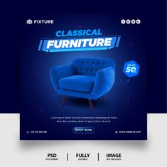 Classical furniture sale social media po... | Premium Psd #Freepik #psd Social Media Poster, Social Media Banner, Social Media Site, Social Media Design, Creative Poster Design, Creative Posters, Graphic Design Posters, Postcard Template, Facebook Timeline Covers