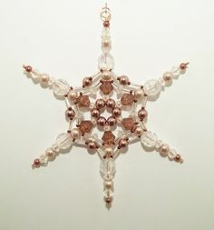 Snowflake Ornament - Copper and Mauve Pearl with Clear AB - Christmas Ornaments - Beaded Ornaments - Holiday Decorations.