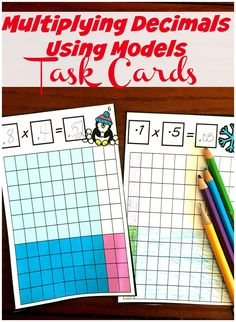 FREE Bright and Fun Task Cards To Multiply Decimals with Models Decimal Multiplication, Multiplication Activities, Maths, Math Literacy, Math Fractions, Numeracy, Teaching Decimals, Multiplying Decimals, Dividing Fractions
