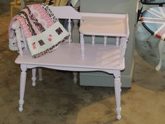 Lane Gossip Bench finished in Amethyst Paint and Clear Wax by Pure Earth Paint.  Available at Emerging Heirlooms, Robinson Township, PA.