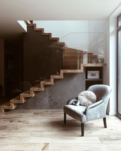 House Staircase, Interior Staircase, Flat Interior, Modern Staircase, Staircase Design, Modern Interior Design, Interior Design Inspiration, Pinterest Room Decor, Stairs In Living Room