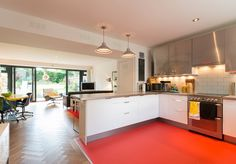 Statement red vinyl flooring