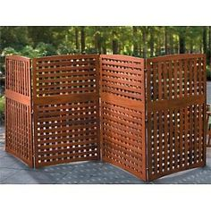 Portable outdoor privacy screens three panel wooden for Temporary outdoor privacy walls