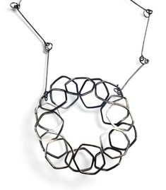"""Layers   Necklace in sterling silver with patina. Pendant measures 3 x 3 x 1"""" Chain is 24"""" long.   Exhibit: Subtle Set   http://www.facerejewelryart.com/artist.php?id=28"""