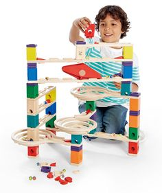 Hape Quadrilla Wooden Marble Run Construction - Vertigo - Quality Time Playing Together Wooden Safe Play - Smart Play for Smart Families >>> Be sure to check out this awesome product. (This is an affiliate link) Wooden Marble Run, Marble Runs, Marble Maze, Lego Cupcakes, Hape Toys, Wooden Educational Toys, Wooden Buildings, Coding For Kids, Glass Marbles