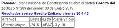 Resultados del sorteo Gordito del Zodiaco signo Capricornio Nº 289 del viernes 30 de Enero 2015.
