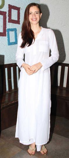 Kalki Koechlin looked summer chic in a semi-sheer kurta and white pants.