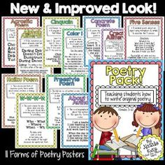 This Poetry Pack makes teaching poetry a snap! Use these colorful posters to model and teach students how to write different forms of poetry! This has everything you need for a 3 week unit!