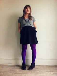 Purple tights & purdy Ugglebo clogs.