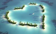 [F]たくさんの島が集まった様子。♡型に見える。青い海に緑の島々が浮かぶ様子がとても美しい大地の造形である。