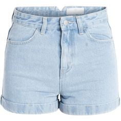 PIECES Just High Waist Denim Shorts ($42) ❤ liked on Polyvore featuring shorts, denim, light blue denim, jean shorts, fold over shorts, high rise denim shorts, highwaist shorts and highwaisted denim shorts
