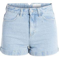 PIECES Just High Waist Denim Shorts (225 DKK) ❤ liked on Polyvore featuring shorts, bottoms, short, pants, light blue denim, high rise jean shorts, light blue jean shorts, highwaist shorts, high-waisted shorts and denim shorts