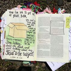 Our boxes---- our comfort zones of what we like, who we like and what makes us safe. When we are telling others about Jesus we need to get out of our boxes! . . . Whitehall camp meeting has been so good this year! Amazing Worship and Preaching. Sometimes you need to step out of your daily routine, relax, rejuvenate,  and spend time at picnic tables with old friends to get filled back up again. So thankful for this time. #illustratedfaith #illustratedfaithdaily2016 #JillsJournaling…