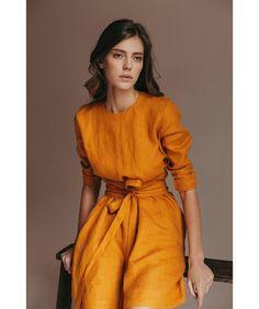 Wrap dress made of linen. Linen tunic linen dresses for women. Wrap dress made of linen. Linen tunic linen dresses for women - Look Fashion, Womens Fashion, Feminine Fashion, Fashion Ideas, Fashion Images, Fashion 2018, Gothic Fashion, Fashion Styles, Korean Fashion