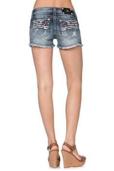 Front Blow Out Americana Shorts Jeans - Miss Me Jeans - The Original Embellished Denim