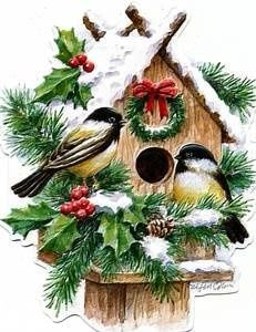 window bird houses | Carol Wilson Bird House - Greeting Cards | Window Painting Design I…