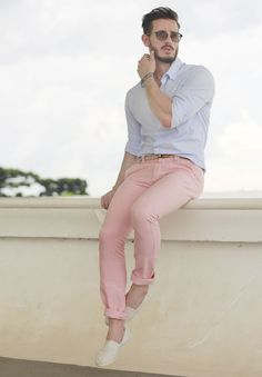 Candy Color Pink Chinos paired with a Shirt ,but men dont prefer this color soon but just give it a try