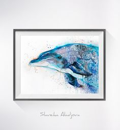Dolphin watercolor painting print Dolphin art animal by SlaviART