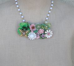 Pink Green Vintage Brooch Collage Necklace by FiorellaJewelry, $74.00