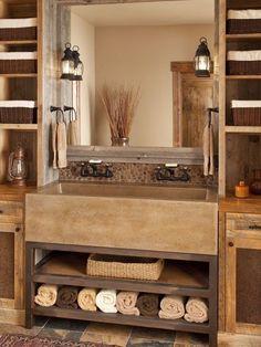 The love the farmhouse sink in the bathroom!