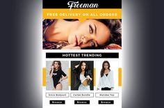 This is a fashion themed email newsletter template in a layered psd file ready to be coded. This template has a high contrast of black, and orange. It is a great email template for fashion bloggers, fashion eCommerce stores, online shops, or any fashion related field. All of the images are included in this template, and are free to use!  #template #fashion #gumroad #email #marketing #professional #newletter #mailchimp #orange #black #mailerlite #aweber