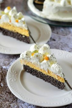 Tejszínes-narancsos máktorta 🍴 Cheesecake, Muffin, Sweets, Breakfast, Desserts, Poppy, Dios, Chef Recipes, Cooking