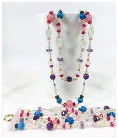 Unique handmade necklace & bracelet pink Calcedony, Ruby, Turquoise, Emerald, Amethyst, Citrine, Peridot, Coral, rose Quartz, orange Agate by Aura Virginia