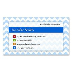 Multimedia Animator - Modern Blue Chevron Business Card Templates